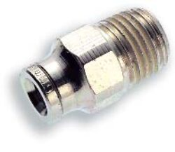 101250818-přímé šroubení R1/8, na hadicu vnějš.pr.8mm, PUSH-IN řada 10br Pmax.18 bar , O kroužky bez silikonu