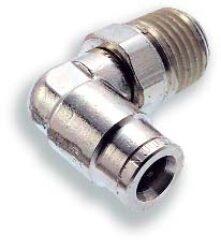 101470618-úhlové 90ti-stupňové šroubení otočné R1/8, na hadicu vnějš.pr.6mm, PUSH-IN řada 10br Pmax.18 bar , O kroužky bez silikonu