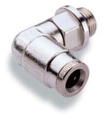 102470605-úhlové 90ti-stupňové šroubení otočné M5, na hadicu vnějš.pr.6mm,  PUSH-IN řada 10, Pmax.18 bar , O kroužky bez silikonu
