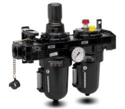BL68-A28-filtr-regulátor + maznice G1 1/4, rozsah 0,4-8 bar,40µm,  mikromlha,ruční vypouštění kondenzátu, včetně manometru a uchycení