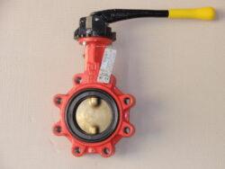uzavírací klapka-mezipřírubová ,série 900 ,verze T ,DN-65 ,PN-16 ,(plyn).-Uzavírací klapka-mezipřírubová, série 900 verze T (závitové oka) ,DN-65 ,PN-16 ,(pro plyn ). Ovládání ruční pákou, matr.tělesa : GGG 40, manžeta: NBR , talíř: mosaz . Připojení - stavební délka dle DIN 3202-K1, ISO příruba PN6/10/16 .
