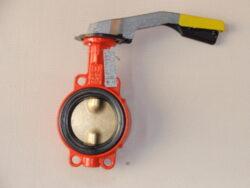 Uzavírací klapka-mezipřírubová ,série 600 ,verze B ,DN-50 ,PN-16 ,(plyn).-Uzavírací klapka-mezipřírubová, série 600 verze B ,DN-50 ,PN-16 ,(pro plyn ). Ovládání ruční pákou, matr.tělesa : GG 25, manžeta: NBR , talíř: mosaz . Připojení - stavební délka dle DIN 3202-K1, ISO příruba PN6/10/16 .