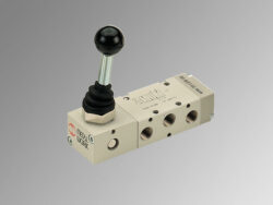 MAV 36 LES CC-5/3 pneumatický ručně ovladaný ventil G1/4 monostabil, 2,5-10 bar, ovládaný pákou