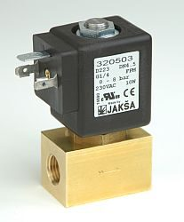 D223                                                                            -2/2 elektromagnetický ventil-přímo ovládaný DN4,5,230V AC,G1/4,0-8bar,NC,Tmax.+130°C konektor není součástí balení ventilu