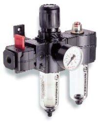 BL73-305G-filtr-regulátor + maznice G3/8, rozsah 0,3-10 bar,40µm,  mikromlha,ruční vypouštění kondenzátu, včetně manometru a uchycení