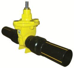 šoupátko s konci PE-HD -víkové, typ: EKO-PLUS 314,DN-150/180,PN-16 (SDR11).     -Šoupátko s konci PE-HD (SDR 11 a 17,6 ) -víkové , bez ručního kola ,typ: EKO-PLUS 314,DN-150,PN16, pro médium  BIOplyn, plyn.