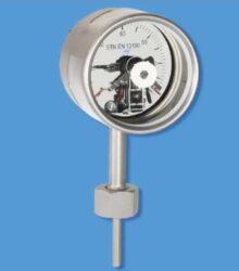 7520-Tlakový teploměr kontaktní se spodním přípojem, převlečnou maticí, přímý